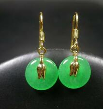 Gold Plate CHINESE Icy Green JADE Circle Earring Earrings Dangle 268992