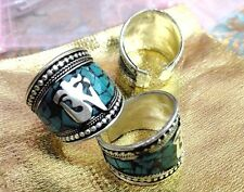 Old Tibet Silver Turquoise Ring Buddhism Om Mani Padme Hum Mantra one pieces