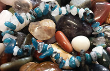 TOURMALINE IN QUARTZ & BLUE APATITE CRYSTAL HEALING CHIP BEAD BRACELET