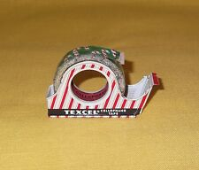 VINTAGE CHRISTMAS TEXCEL TAPE CANDY CANES TIN DISPENSER UNUSED OLD STORE STOCK