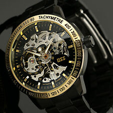 New Mechanical Men's Watch Wrist Steel Automatic Skeleton Black Gold+ESS Box