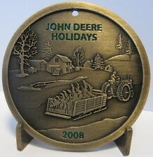 John Deere 2008 Brass Christmas Ornament Limited Edition SpecCast tractor sled