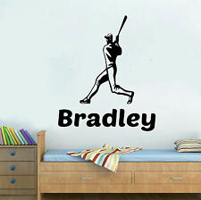 "Baseball Player & Personalized Name Wall Decal Sticker 24"" X 12"" FREE SHIPPING"