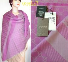 "GUCCI wool/silk Fuchsia/Gray GG scarf Giant 55""-square PASHMINA shawl NWT Authen"