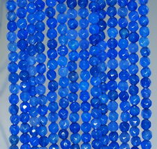 """4MM  AGATE GEMSTONE COBALT BLUE FACETED ROUND LOOSE BEADS 15"""""""