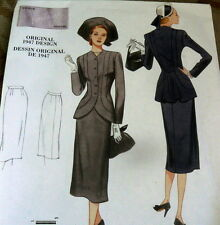 1940s VOGUE VINTAGE MODEL SUIT SEWING PATTERN 14-16-18-20-22 UC
