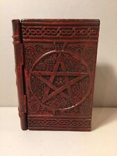 "NEW Pentagram Resin Book Box 4"" x 6""  Hinged Lid FREE Skull Gemstone"