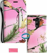 Pink Camo Mossy Wallet Folio Case purse for LG G3