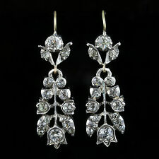 ANTIQUE GEORGIAN PASTE EARRINGS OLD CUT RESEMBLE DIAMOND SILVER GOLD