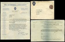 AUTOMOTIVE 1925 AA BADGES LETTER + ENVELOPE + PERFIN...MOTOR CYCLE + CAR