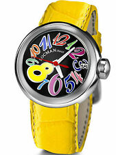 NIB LOCMAN TUTTOTONDO WATCH Model 340-Black w/Whimsical Multicolor Numbers,$495
