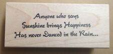 Mounted Rubber Stamp, Dance Quote, Dancers, Dancing, Sayings, Danced in the Rain