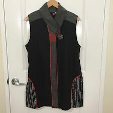 CUPCAKE 100% Cotton Black Lagenlook Asian Art to Wear Vest Top Size Medium