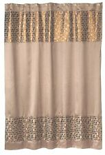 Popular Bath 4 Piece Mosaic Stone Bronze Shower Curtain, Hooks and Rugs Set