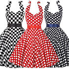 PLUS RED Polka Dot Swing 50s Housewife pinup Vintage Short Prom Dress