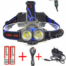 6000LM XML 2X T6 LED Head Torch Headlight USB Rechargable Headlamp+18650 Battery