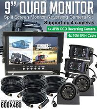 "9"" Reversing Rear View Quad Monitor Split screen View 4 Channels + 4x CCD Camera"