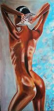 Portrait Original Painting Ice Nude Abstract colour model girl woman