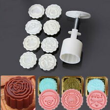 Cake Mooncake Mold Mould Rose Flower Round 8 Stamps 50g Tool DIY Decoration XT