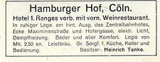 Hotel Hamburger Hof Cöln Besitzer Heinrich Tanke Historische Annonce 1906