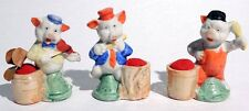 P468. Set of 3: Disney THE THREE LITTLE PIGS FIGURAL CHINA PIN CUSHIONS (1930s)|