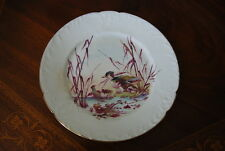 SUPERB LIMOGES GUERIN EARLY HAND PAINTED LARGE GAME BIRDS CABINET WALL PLATE #1