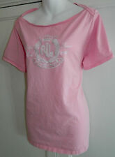 Womens RALPH LAUREN T-Shirt TOP 18/20 2X White PINK Crested BLACK LABEL!!  1