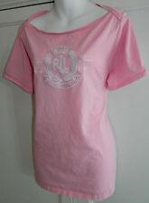 Womens RALPH LAUREN T-Shirt TOP 18/20 2X White PINK Crested BLACK LABEL!!  1