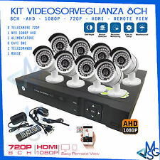 SECURITY SYSTEM AHD 1080P DVR 8CH 8 TELECAMERE HD 960P VIDEOSORVEGLIANZA FULL HD