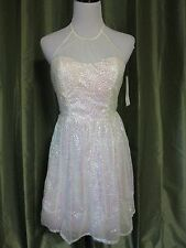 Ruby Rox Ivory Sequined Spaghetti Straps Party Dress Sweetheart Neckline 5 NWT