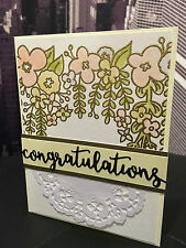 "Stampin Up ""Congratulations"" Gold Embossed Engagement/Wedding Handmade Card"