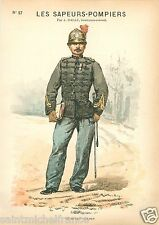 POMPIER PARIS FIREMAN SERGENT MAJOR  1887 FRANCE UNIFORM GRAVURE ANTIQUE PRINT