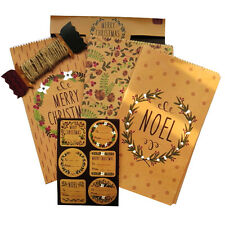 Christmas Quality Brown Gift Wrap Set, Crafted Gift Bags, Assorted Gift Stickers
