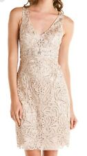 SUE WONG  Antique Champagne Beaded Cocktail Bridal Illusion Back Dress 8