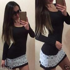 Women Long Sleeve Party Cocktail Evening Bodycon Autumn Sexy Lace Mini Dress