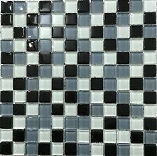 Black White & Grey Glass Mosaic Tiles Splashback Bathroom Shower Kitchen Walls