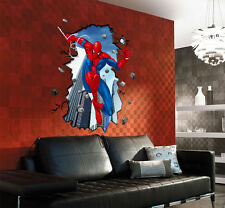 3D Effet SPIDERMAN Sticker Mural Decor Chambre Garcon Enfant Art Wallpaper Decal