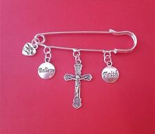 KILT SAFETY PIN BROOCH HAVE FAITH AND BELIEVE JESUS CHRIST CROSS MADE WITH LOVE