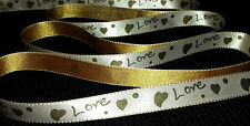 "2M 0.5"" / 13mm LOVE HEART SATIN RIBBON FOR SAWING CRAFT DECORATION WEDDING FLOWE"