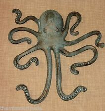 Lrg Marine Blue & Gold CAST IRON Octopus Wall Hanging Decor Nautical Jules Verne