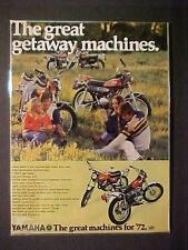 RARE OLD  ~JAPANESE YAMAHA JAPAN MOTORCYCLE MOTOR BIKE PRINT AD~  VINTAGE 1972