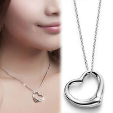Fashion Women Open Heart Pendant & Chain Necklace 925 Sterling Silver Plated