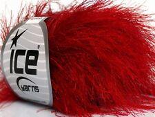 38Yd Absolutely Red Extra Long Eyelash Yarn Ice Luxurious New Fun Fur 42080 50Gr