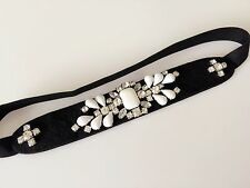 Women Retro Crystal Vintage Rhinestone Black Party Elastic Stretch hair headband