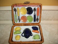 Vintage Mini Wicker Picnic Basket 18 Pc Miniature Porcelain Tea Set