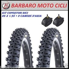 KIT 2 GOMME + 2 CAMERE D'ARIA MTB BICI BICICLETTA 26 X 1.95