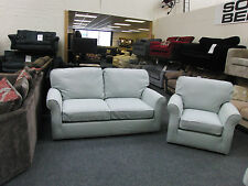 DUCK EGG BLUE LOOSE COVER FABRIC 3 SEATER SOFA + ARMCHAIR RRP £1598