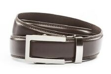 Anson Belt & Buckle. Men traditional silver buckle with dark brown leather strap