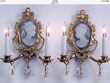 DOLLHOUSE MINIATURE Electric Wall Sconces Pair BLUE or PINK Handcrafted 1:12