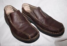 CLARKS Travel Soft Brown Leather Slip On Loafers, Mens Size 9.5 M